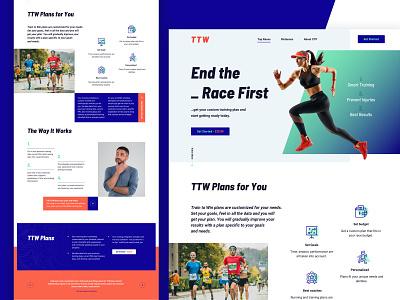 TTW - Website for Runners energetic moyedesign moye running sports vivid blue orange uiux website design website
