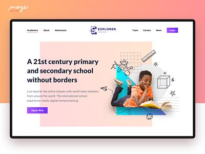 Explorer School students learning education school ui ux web design website illustration ui design moyedesign moye