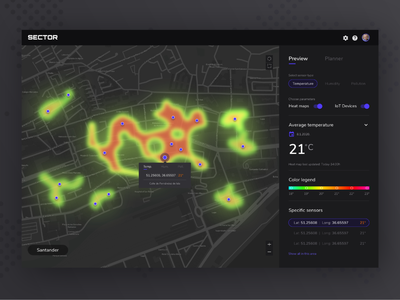 Sector Web App - IOT Devices - Temperature Heat Map iot devices iot web application web app dark dark ui heatmap temperature design app  design ui design ux moyedesign moye