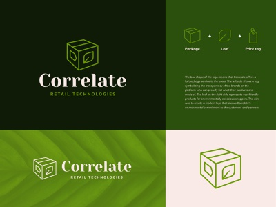 Correlate line logo typography moyedesign moye price tag box package green leaves leaf ecommerce ecommerce logo branding design eco logo branding logo