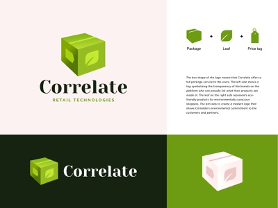 correlate3 icon typography vector minimal brand design brand retail organic green box logo box logo branding moye