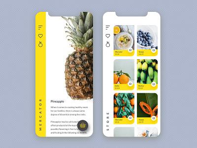 Dragstor yellow white shop ux shopping cart shopping app pineapple fruit branding minimal simple design ui design app