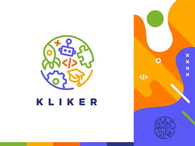 Kliker IT Center for Kids robots education logotype school kids children moyedesign icon typography vector illustration minimal simple design moye branding design logo branding