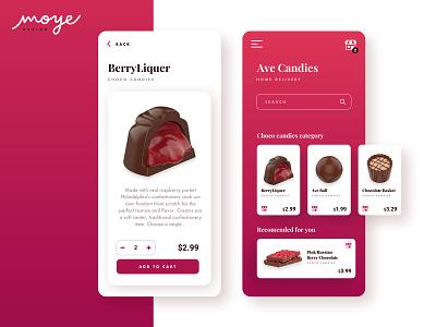 AveCandies simple ux app  design application ui design moyedesign moye app minimal ui branding