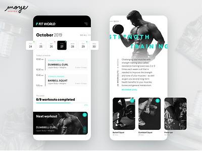 Fit World workout app gym app uidesign uxdesign app  design design app moyedesign moye