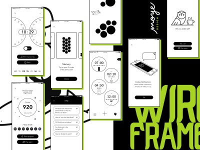 Wireframes - Early Game Alarm uxdesign ux wireframes black and white minimal app  design app ui ui design moyedesign moye