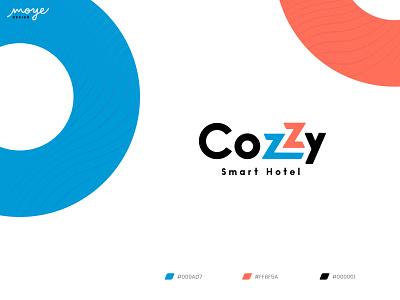 CoZzy - Smart Hotel smart cozzy cozy orange blue vibrant hotel icon typography simple design minimal logo design branding moyedesign moye