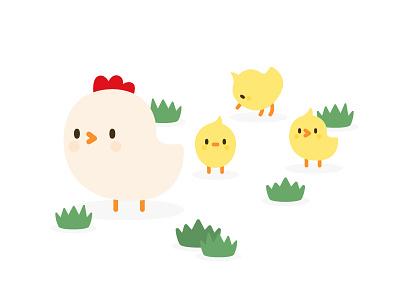 Hen And Chicken In The Garden child mum vector icon cute grass garden chicken hen