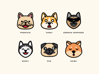 Dogs illustration vector aomam icons shiba-inu pug husky german-shepherd corgi franchise dog