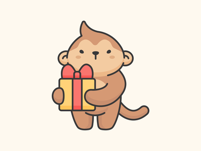 Monkey and gift cartoon gift monkey child animal adorable illustration cute character vector aomam