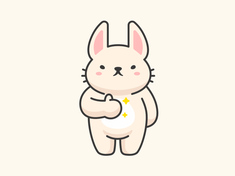 Rabbit thumb up like aomam mascot cartoon animal adorable illustration cute character vector bunny rabbit