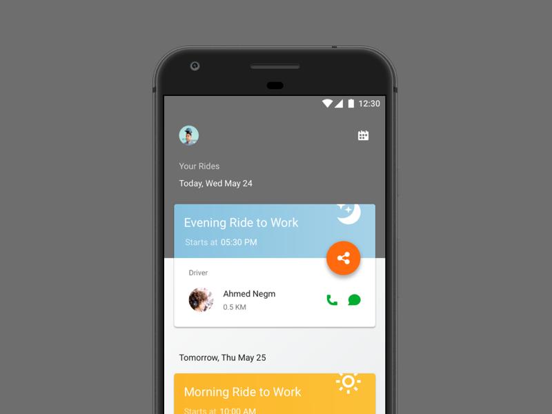 Raye7 Carpooling App clean simple ui app android material carpooling raye7