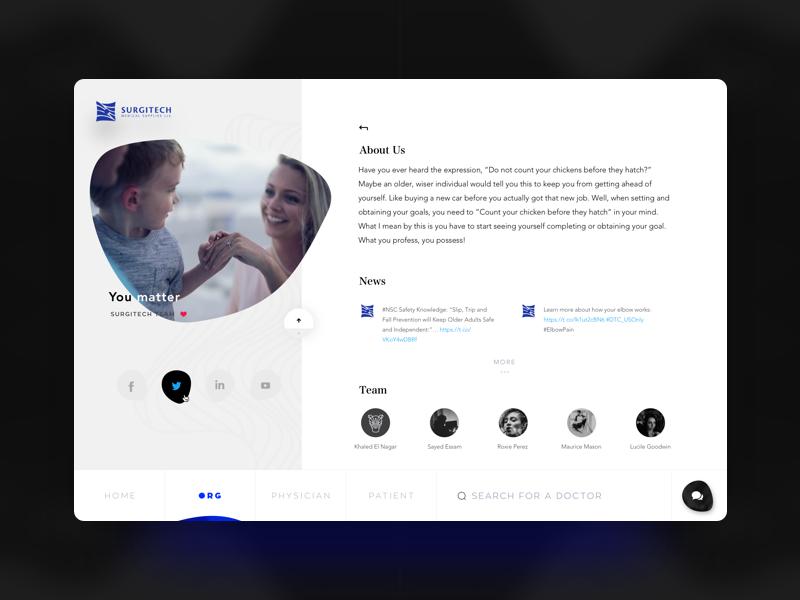 Surgitech Website - About Us future pitch collaboration concept simple storyboard stories patient medical blue ui  ux ui modern minimal