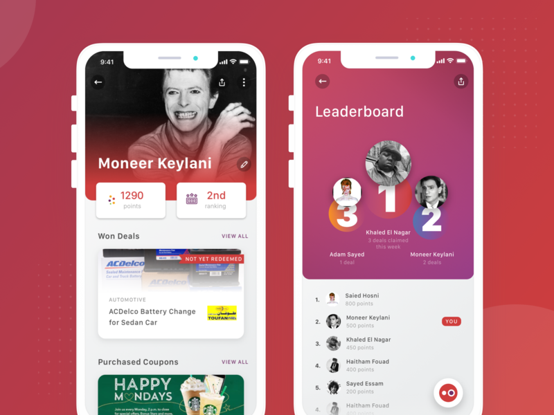 Optio - Profile and Leaderboard david bowie leaderboards profile design futuristic minimal simple pencil option modern gamify gaming app gamification loyalty deals optio leaderboard profile