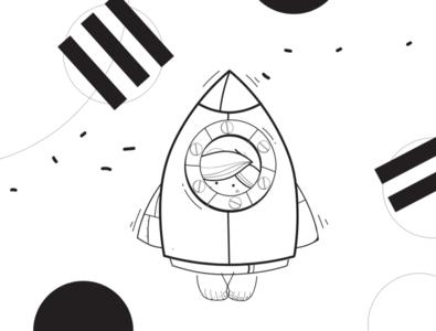 Flying home flat vector illustration