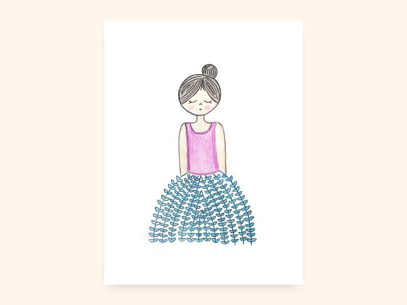 Mabel woman girl art character pencil illustration
