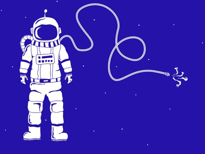 Social Distancing stars lettering space astronaut typography vector design illustration