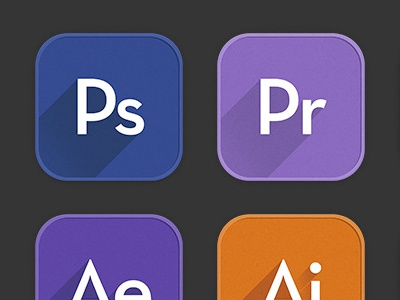 Adobe Appicon icon long shadow app icons flat adobe