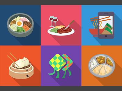 Badges design Vol. 3 badge flat ui cuisin food korean western indian malay hungrygowhere dim sum long shadow
