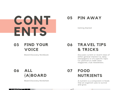 Pinterest Action Plan Table Of Contents