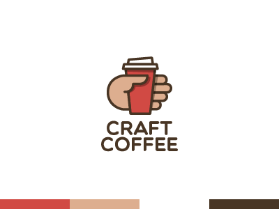Craft Coffee red logo logotype craft coffee cup hand shadow flat paper finger