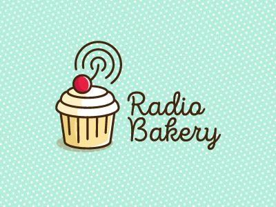 Radio Bakery log flat thin cream pattern wave berry cherry cupcake bakery radio logotype