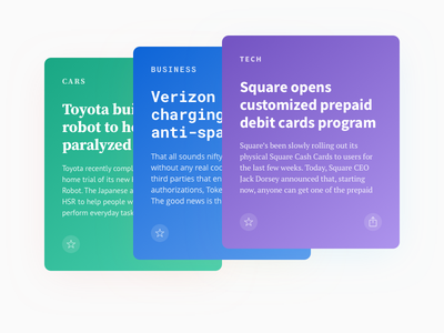 Fontcards – Cards Layout 02 card cards font fonts news guide layout gradients grid grids