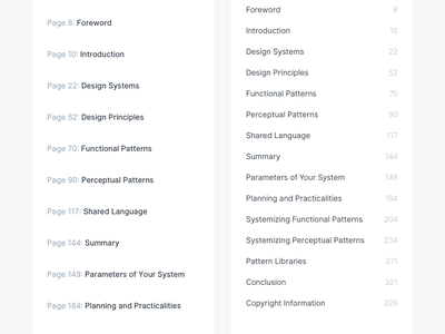Table Of Contents – Before & After (Redesign) components redesign process sidebar list grid elements web after before pagination table