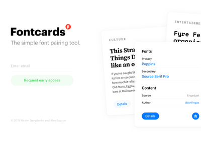 Fontcards – Early Product Page product page font cards fontcards grid layout apple web readymag landing beta