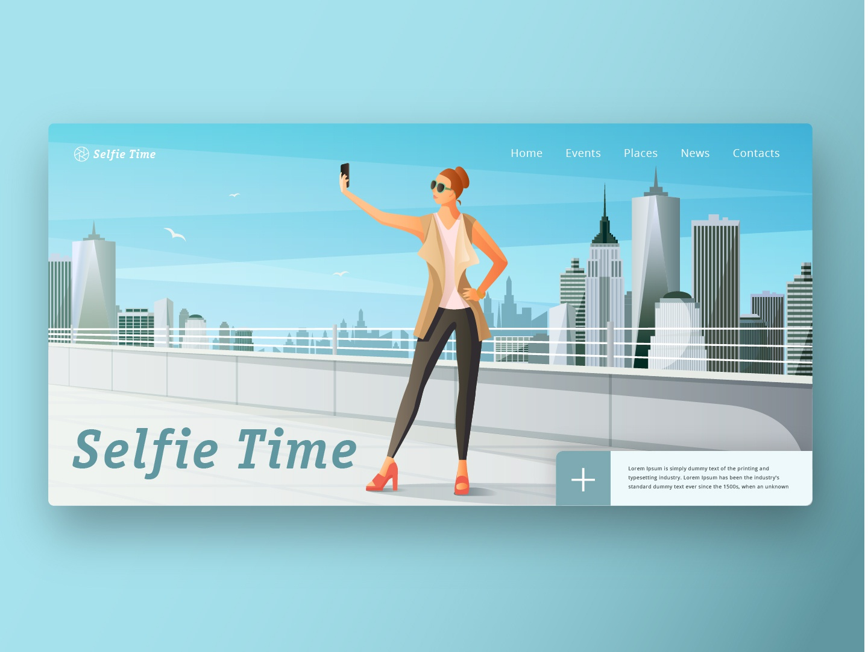 Сity events site branding illustrator web minimal website flat app ux ui design