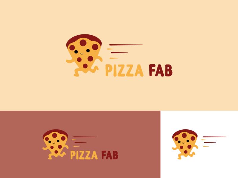 Pizza Fab run happy fun pizza branding concept branding branding and identity branding design logos logo design logodesign logotype logo illustrator design vector