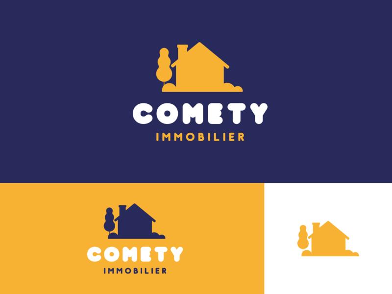 Comety Immobilier shots shot dribbble best shot dribble dribbble logo design logodesign brand design logo branding concept branding typography vector