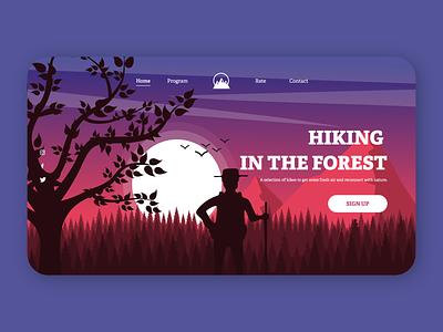 Homepage of a forest walk dribbble best shot concept mobile ui mobile app webdesign website animation flat minimal web app icon typography ux vector branding ui logo illustration design