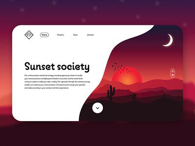 Home page of Sunset Society dribbble best shot concept mobile ui mobile app webdesign website animation flat minimal web app icon typography ux vector branding ui logo illustration design