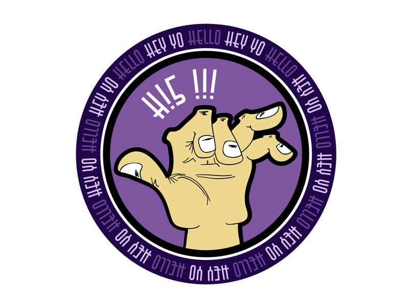 Hey Yo Hello five hi5 amigo circle round community friend sign purple hand welcome hi yo hey hello draw illustration brand logotype logo