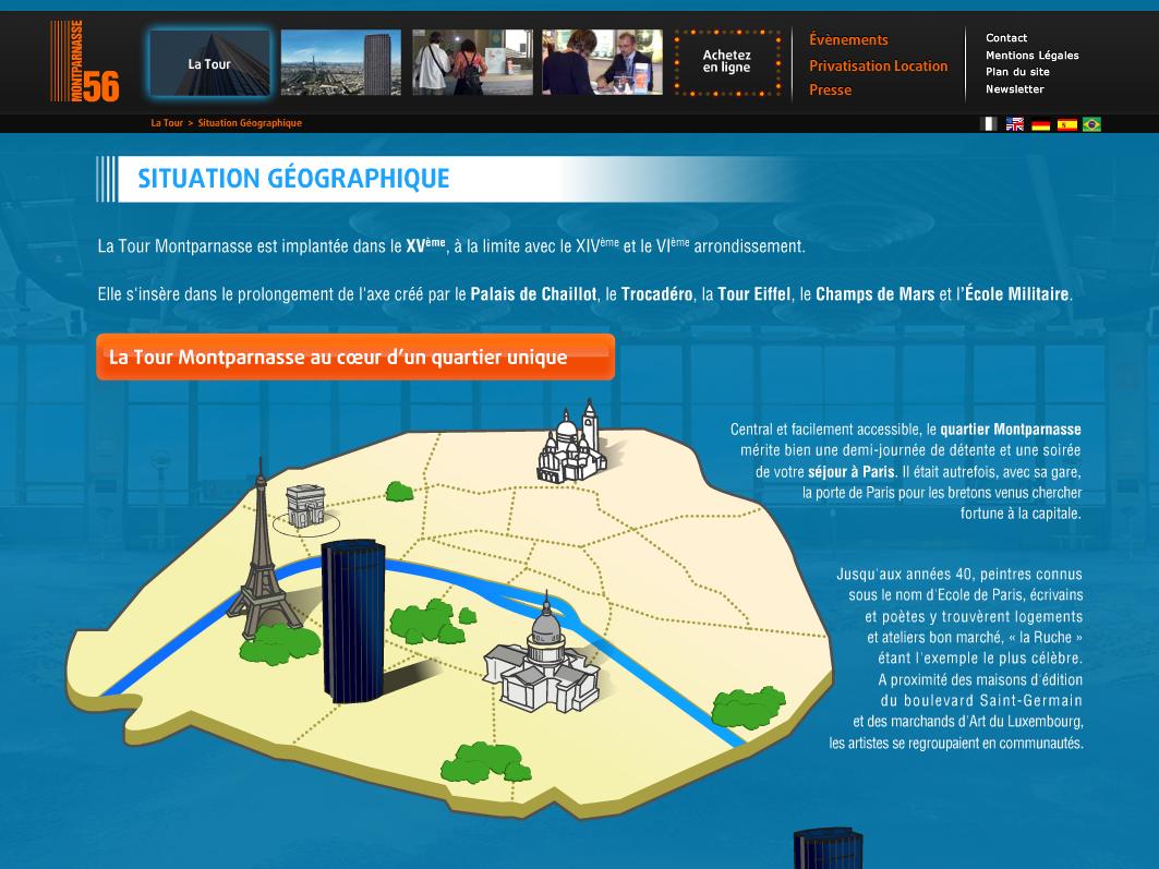 TM56 (Tour Montparnasse 56) digital design webdesign vector vecto illustrator geographic situation map official actionscript flash tourist photography picture view trip tour montparnasse tm56 animation website