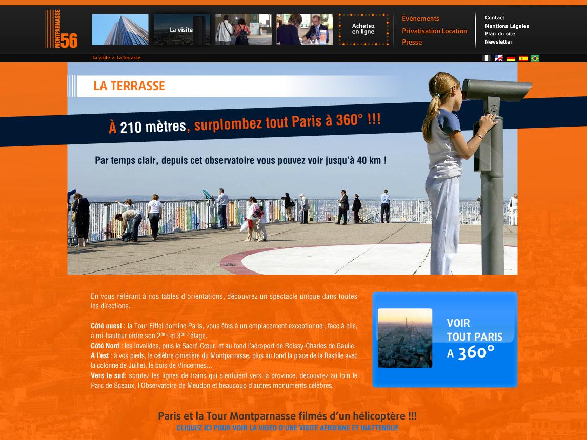 TM56 (Tour Montparnasse 56) vector vecto europe france capital city visit tourist photography picture terrace view paris building full flash actionscript official website digital design webdesign