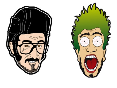 Personal characters #2 vecto mouth green hairs looking scream eyes teeth smile glasses yo hey man mister crazy face illustration digital design artwrok draw