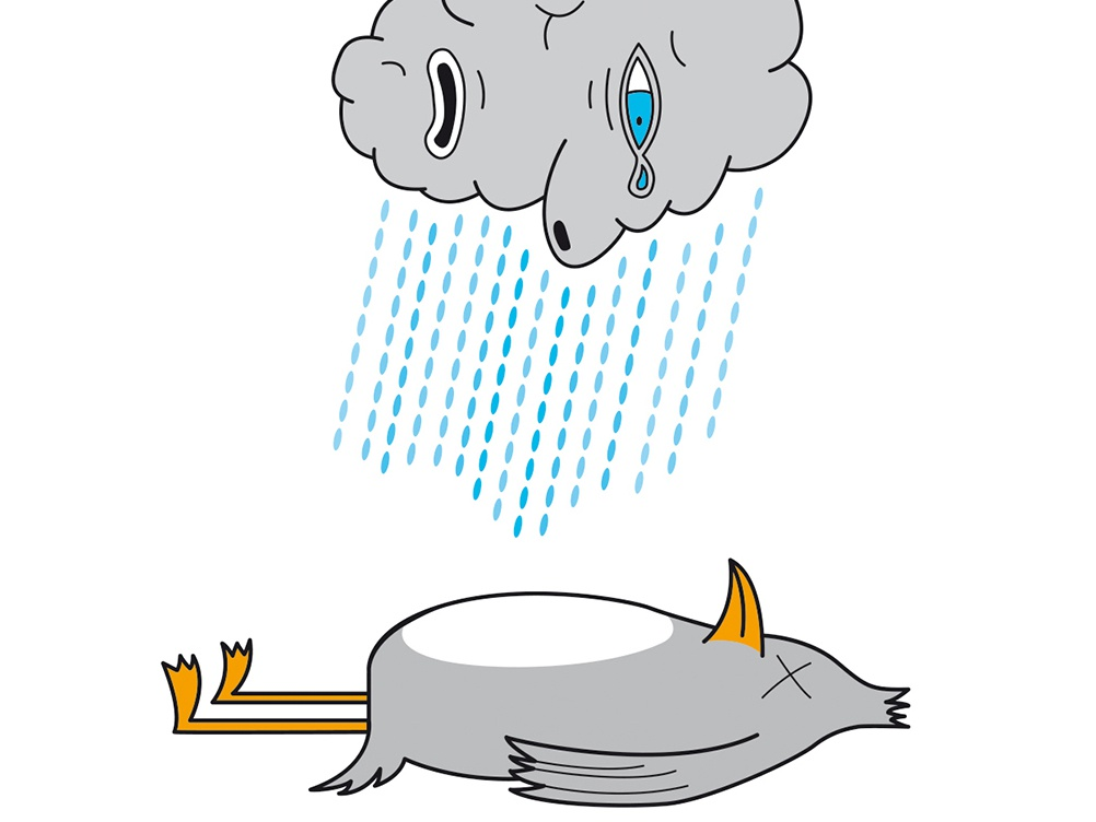 Cloudy Birdy stencil pen tear draft tired eyes sad digital design vector vecto grey crying cry cloud rain dead bird artwork illustration draw