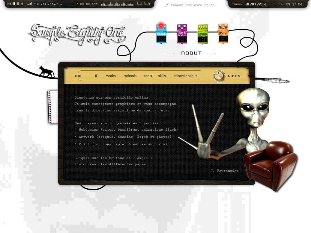 Flash Website Portfolio #02 motion design animation menu knobs amplifier loader armchair guitar alien cat backline music digital design artwork book portfolio actionscript full flash web design website