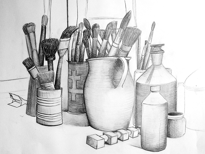 Dessin #01 old vase plant anatomy still life learning school draws painting bucket brushes paint brush pen pencil paper drawing rough sketch draw