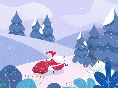 Christmas snowman clouds blue red flowers gifts snowflake snow santa santa claus rabbit xmas merry christmas christmas tree christmas illustrator illustration graphic design design art