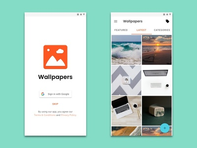Wallpapers - Easy Sign In and Latest screens clean ui google sign in sign in mobile app material design app design android app design android design wallpaper android