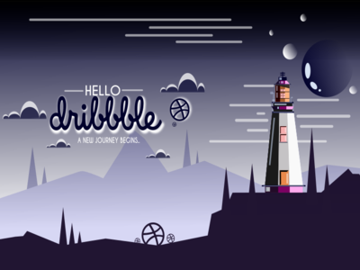 HELLO DRIBBLE :-) landscape depth dark lighthouse night nature thanks for invite hello dribbble simple background design graphic vector background art graphic design flat flat  design minimal abstract illustration design