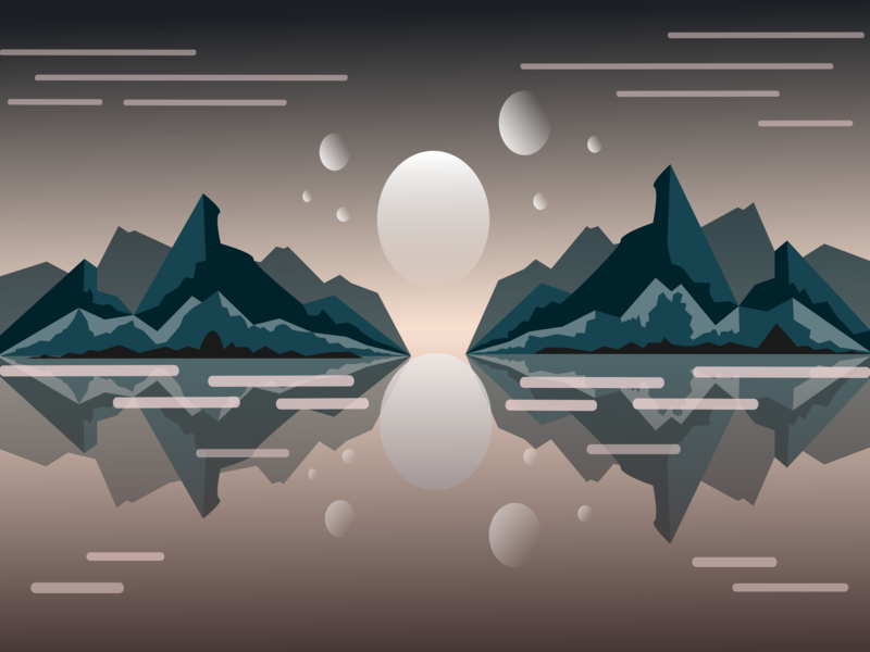 Natural Mirror ux chances simple reflection nature landscape invite ui flat 3d vector background design background art abstract graphic design graphic flat flat  design illustration minimal design
