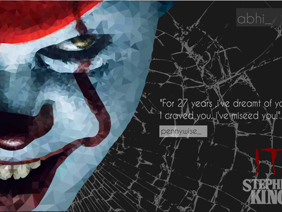 Pennywise invites invite flat abstract lowpoly illustrations pennywise it
