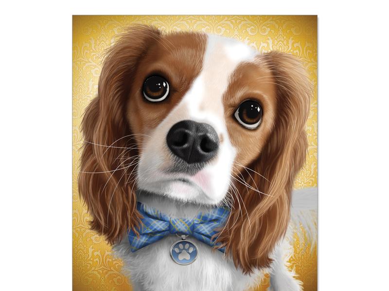 King Charles Cavalier Spaniel dog nose puppy eyes bowtie dog tag mans best friend king charles cavalier spaniel puppy dog digital illustration