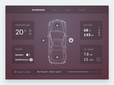 Daily UI Design Challenge 34: Car Interface