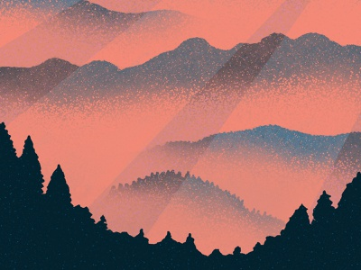 Misty Mountain Sunrise digital art sunrise procreate art procreate digital painting digital illustration digitalart
