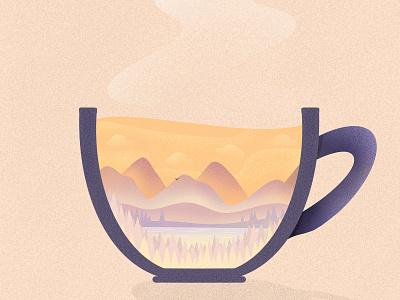 What's in your coffee? scene lake mountains coffee cup coffee design procreate art procreate digital painting digital illustration digital art digitalart